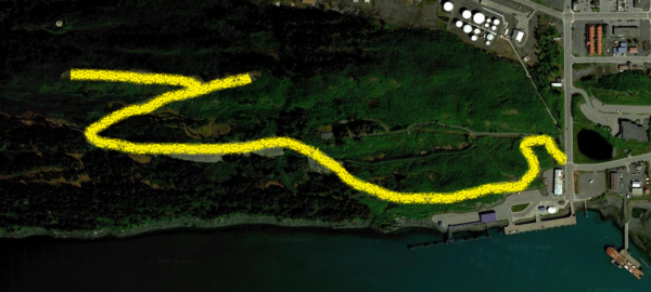 a satellite view of a hiking trail on a hill