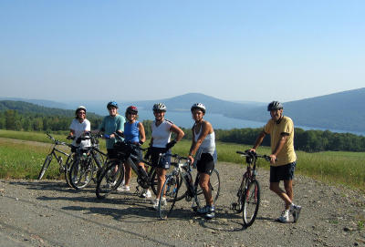 Bikers posing for a photo at a scenic overlook for Canandaigua