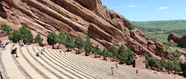 People sitting apart at Red Rocks Park & Amphitheatre