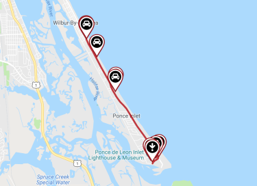 A running route map of the Ponce Inlet Trail
