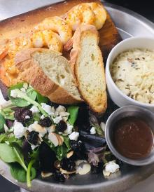 shrimp, bread, salad greens from alto pizza kitchen in covington ky
