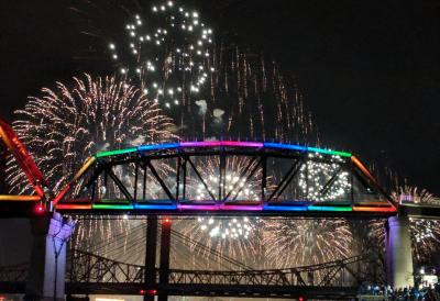 Big Four Bridge lit up rainbow