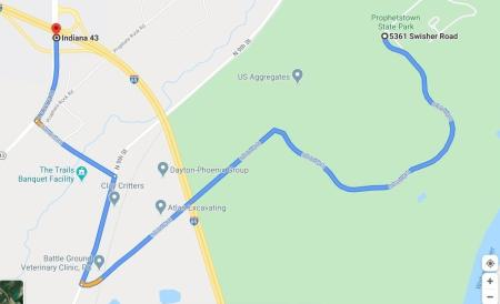 This is the correct route to Prophetstown State Park from Interstate 65.