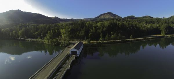 Lowell Covered Bridge at Dexter Reservoir by Dave Horton