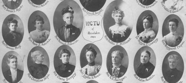 Black and white photo of women's portraits including Clara Savoy