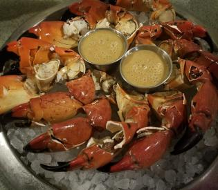 Plate of stone crab claws at Flagler Fish Company