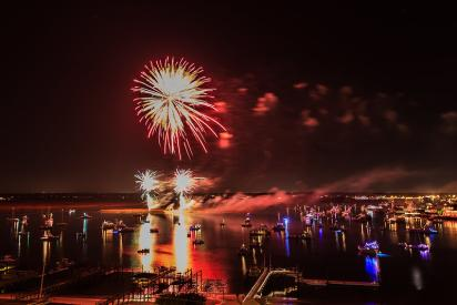 NC Holiday Flotilla fireworks show on the water