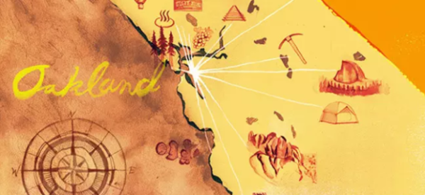 Gold map of Oakland and the Bay Area with symbols and compass