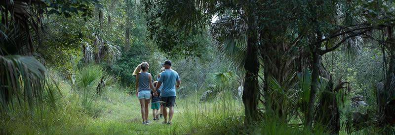 A family hikes along a trail