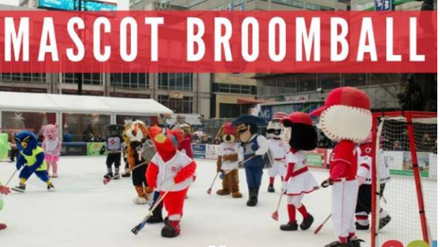Mascot broomball fountain square