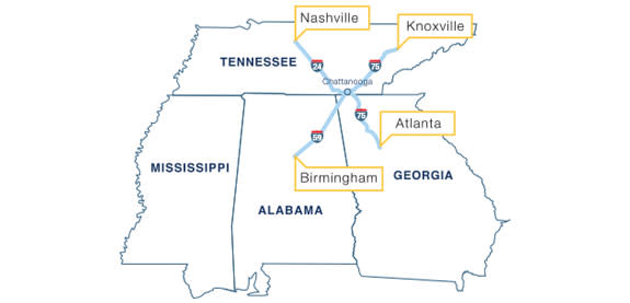 Map of interstate system