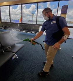 Electrostatic Spraying in Concourse Seating Area