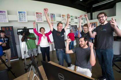 Students and Faculty at the MAGIC Center at Rochester Institute of Technology cheering