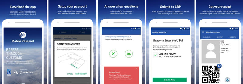 Image of cell phone screens showing the five different steps to using the Mobile Passport App