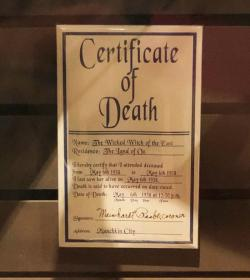 3.The Wicked Witch of the East's official certificate of death