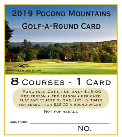 2019 Pocono Mountains Golf-A-Round Card