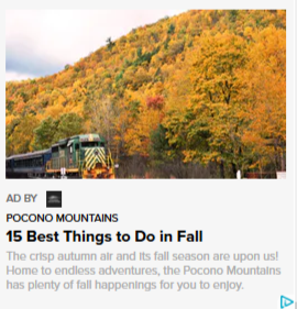 2019 Fall Marketing Campaign - Online Native Ad - Pocono Mountains Visitors Bureau