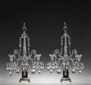 Pair of girandoles, tooled and cut lead glass; Credit: Collection of the Corning Museum of Glass, Corning, NY.