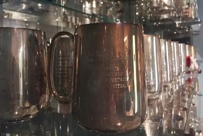 Engraved silver mugs at Royal Canadian Artillery Museum on CFB Shilo, Manitoba
