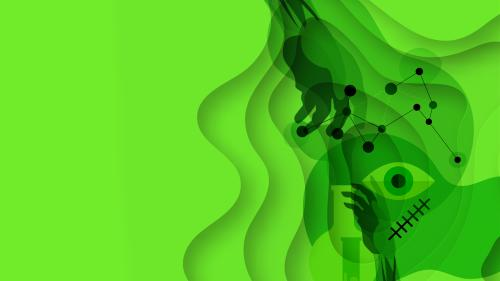 A green artistic representation of Frankenstein's monster