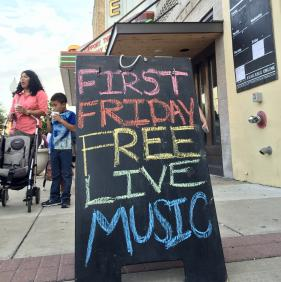 First Friday Live Music Sign