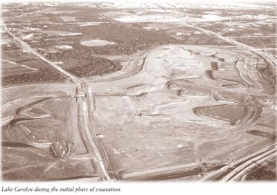 An old black & white aerial photo showing the construction of Lake Carolyn near Irving.