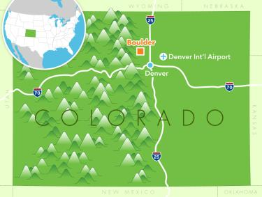 Map of where Boulder is located in Colorado