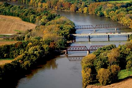 Wabash River bridges aerial