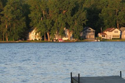 The shoreline of Conesus Lake where cabins have been built as summer retreats