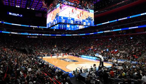 Basketball stadium for NCAA March Madness at the Wells Fargo Arena