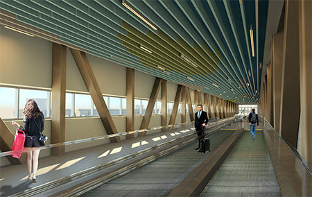 Cruise passengers will use the elevated bridge with moving walkways to access Terminal 2 from the new parking garage.
