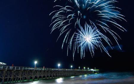 Hot Summer Nights Fireworks Over Pier