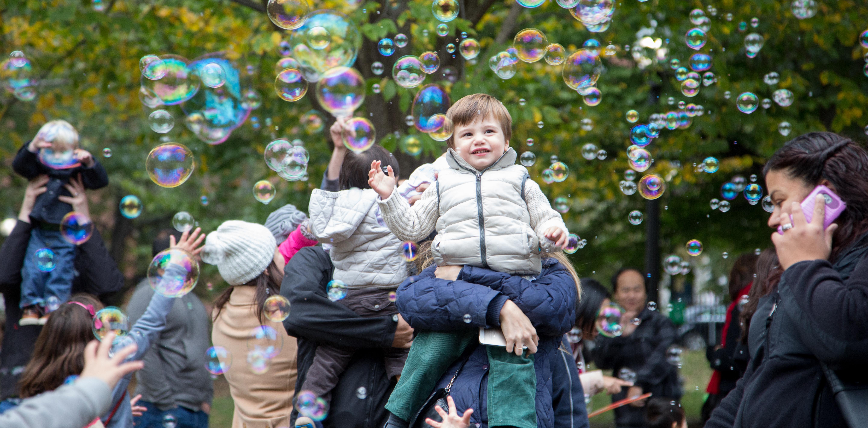 Family Fun Seeker kids with bubbles