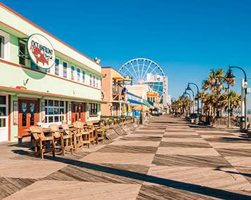 Myrtle Beach Boardwalk looking south toward SkyWheel