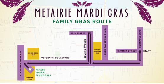 Family Gras Parade Route