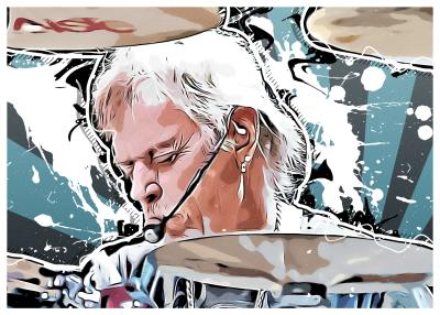 A stylized image of rock musician Frank Beard playing the drums.