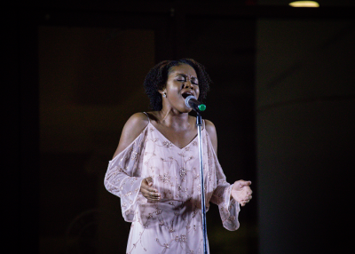 Participant singing in the Sugar Land Superstar contest