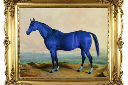 Blue Horse Gold Frame