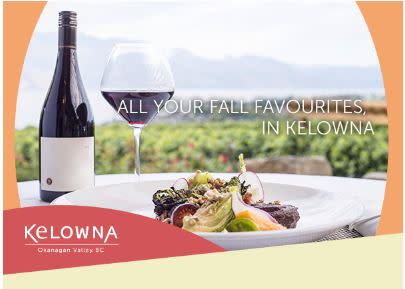 Photo of Tourism Kelowna ad featuring wine and food in vineyard