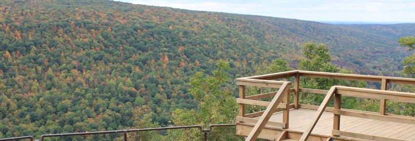 A viewing point overlooks the Bristol Hills at Gannett Hill Park