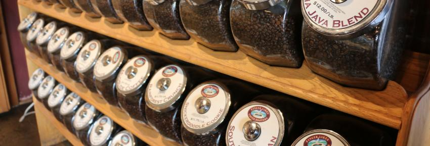 Various types of coffee available for purchase at Finger Lakes Coffee Roasters