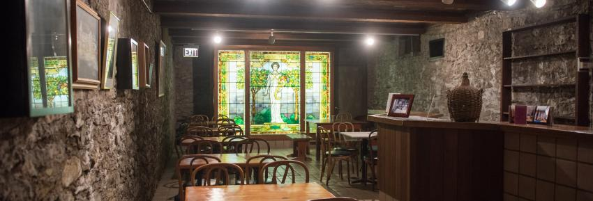 Inside of Sonnenberg Gardens wine cellar
