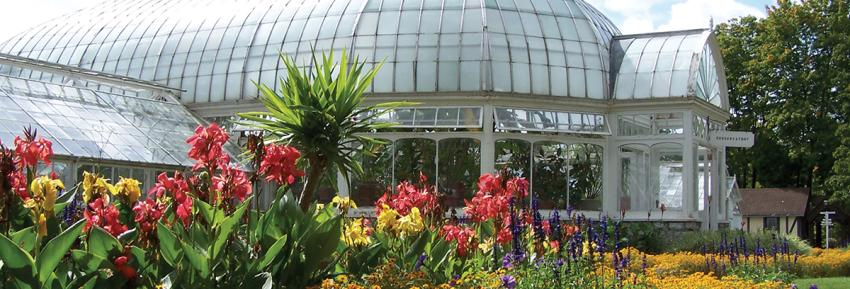 A greenhouse sits within the grounds of Sonnenberg Garden in Canandaigua