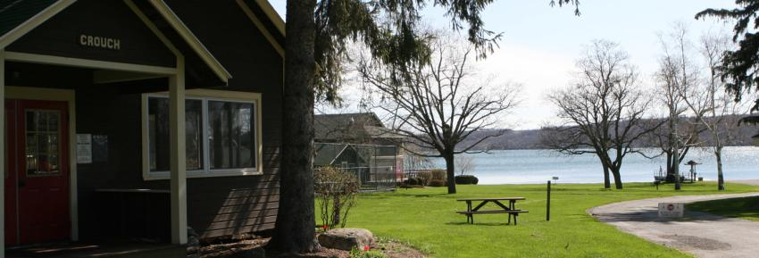 A Cabin sits overlooking Canandaigua lake at Onanda Park