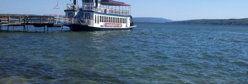 The Canandaigua Lady docked at her port at the north side of Canandaigua Lake