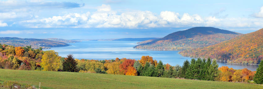 A panoramic of Canandaigua Lake as seen from the County Road 12 Overlook