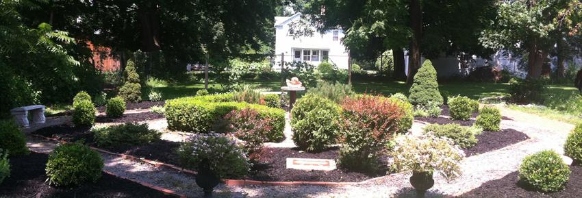 The peace garden at Granger Homestead Carriage House