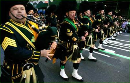St. Patrick's Day Parade bagpipe march