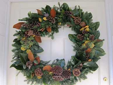 Holiday Wreath on the door at the Morven Museum & Garden