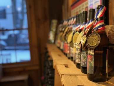 Award-winning wines on mantel at Terhune Orchards